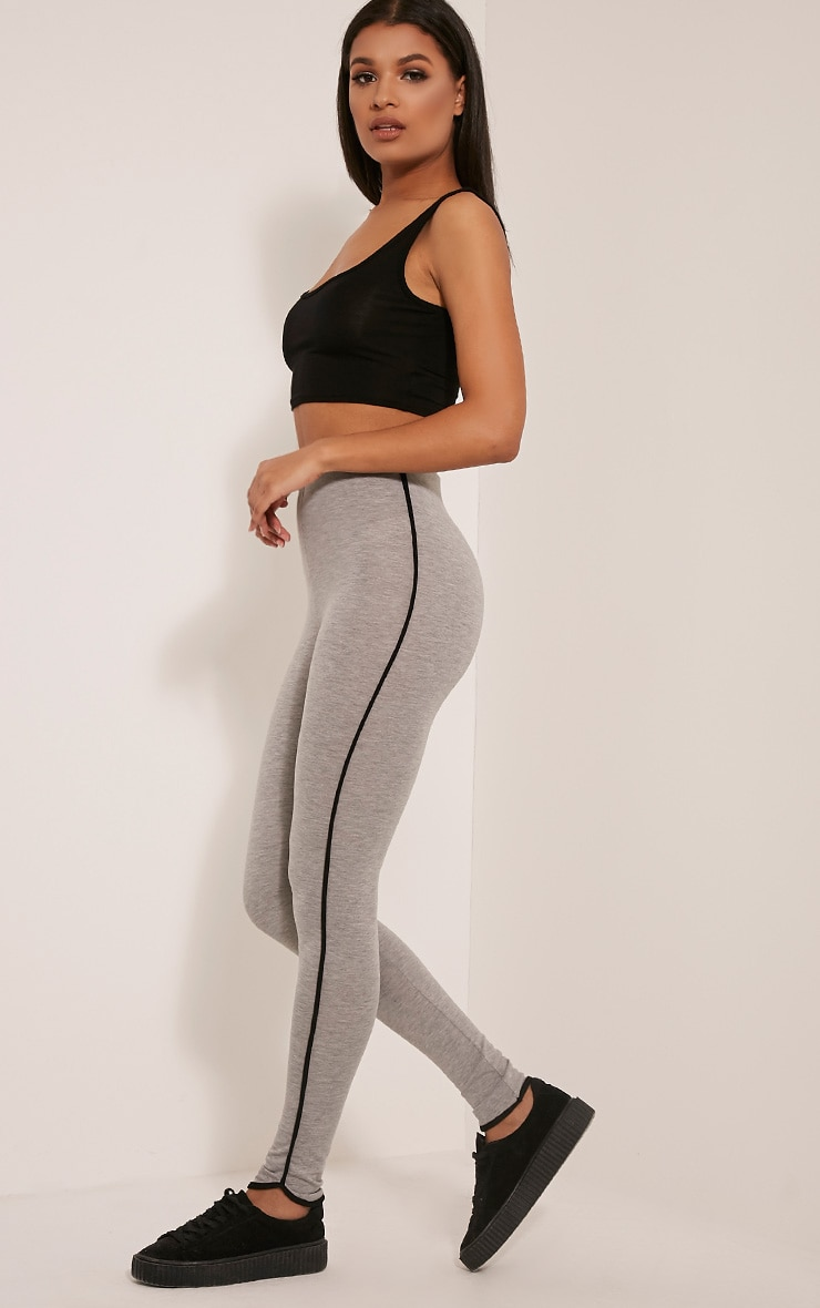Bee Grey Contrast Piping Leggings 1