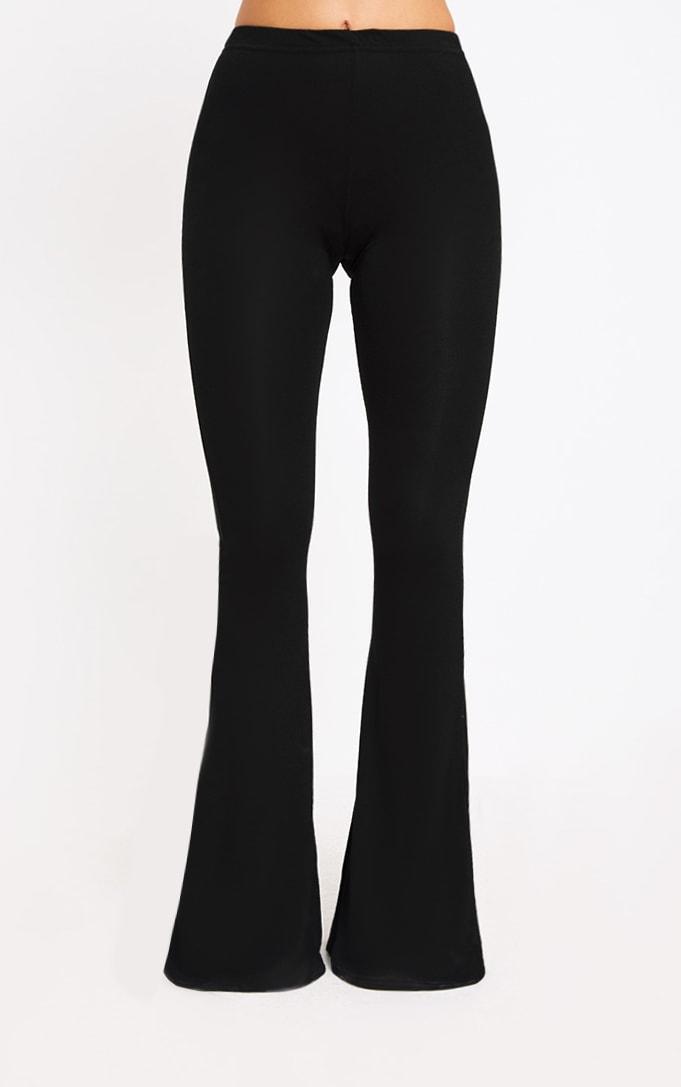 Petite Black Basic Flare Leg Pants 2