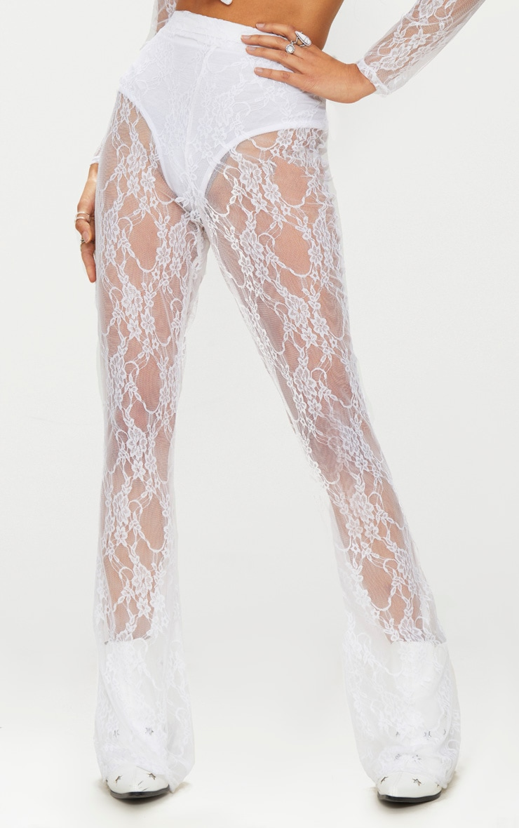 white Lace Flared Trousers 2