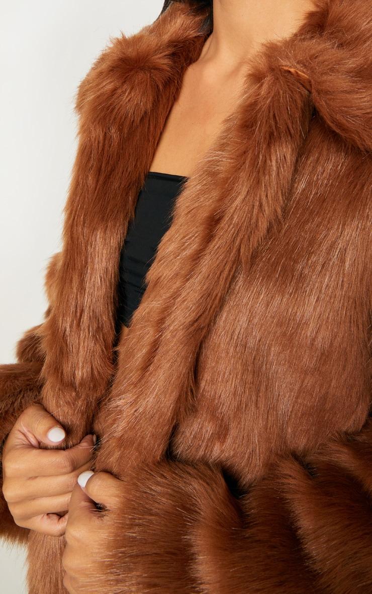 Brown Maxi Faux Fur Coat  4