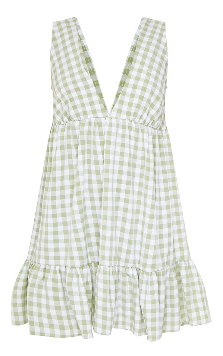 Sage Green Gingham V Neck Frill Hem Sleeveless Shift Dress 5