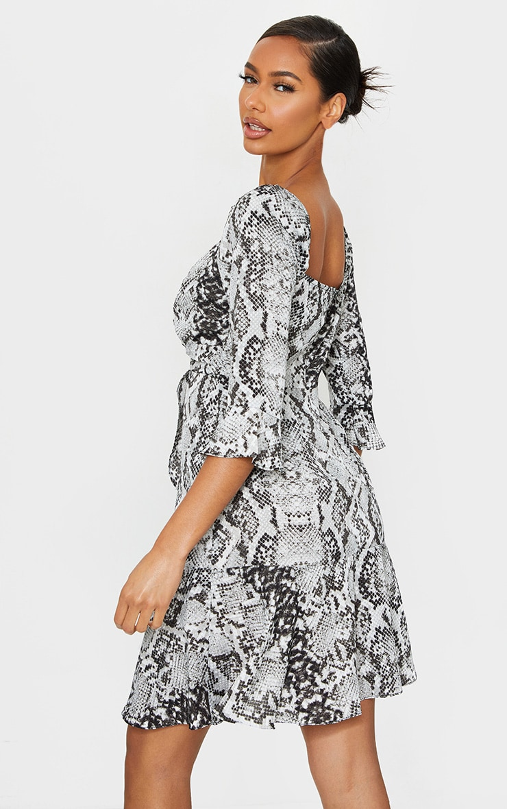 Grey Snake Print V Neck Ruffle Detail Tea Dress 2