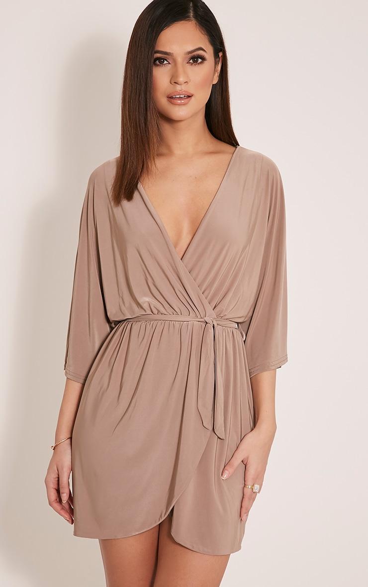 Martie robe mini à manches kimono devant cache-cœur taupe 1
