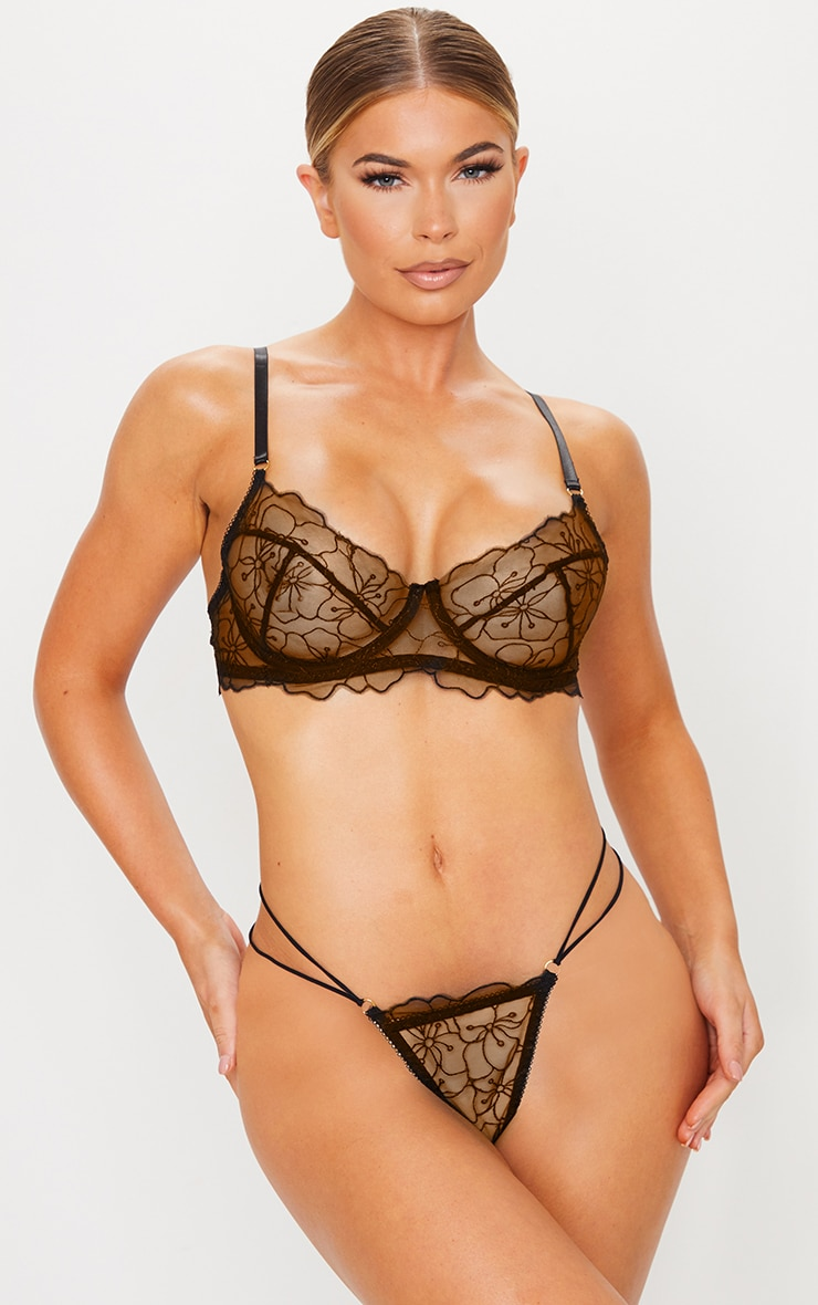 Black Underwired Embroidered Floral Lace Lingerie Set 1
