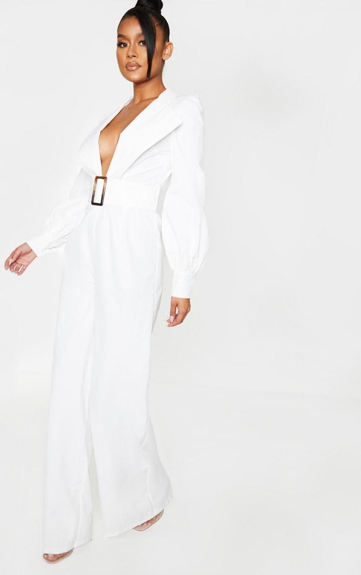 White Tortoiseshell Belt Puff Sleeve Plunge Jumpsuit 3
