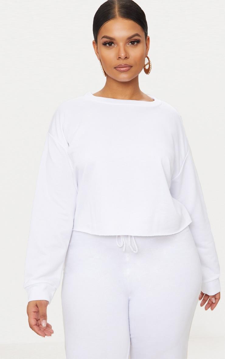 Plus White Extreme Crop Sweater 1