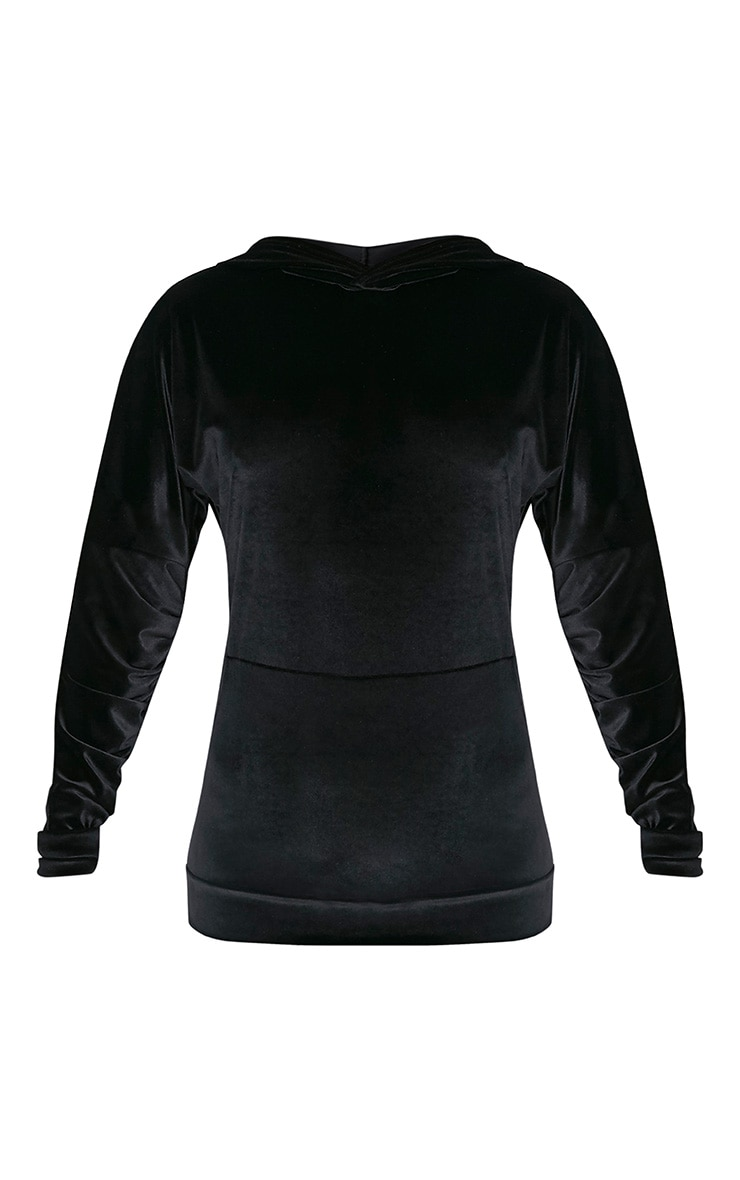 Mai Black Velvet Pocket Front Ruched Sleeve Hoodie 4
