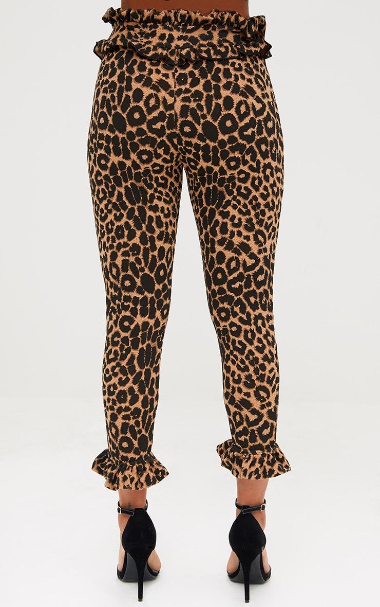 Brown Leopard Print Frill Trim Trousers 4