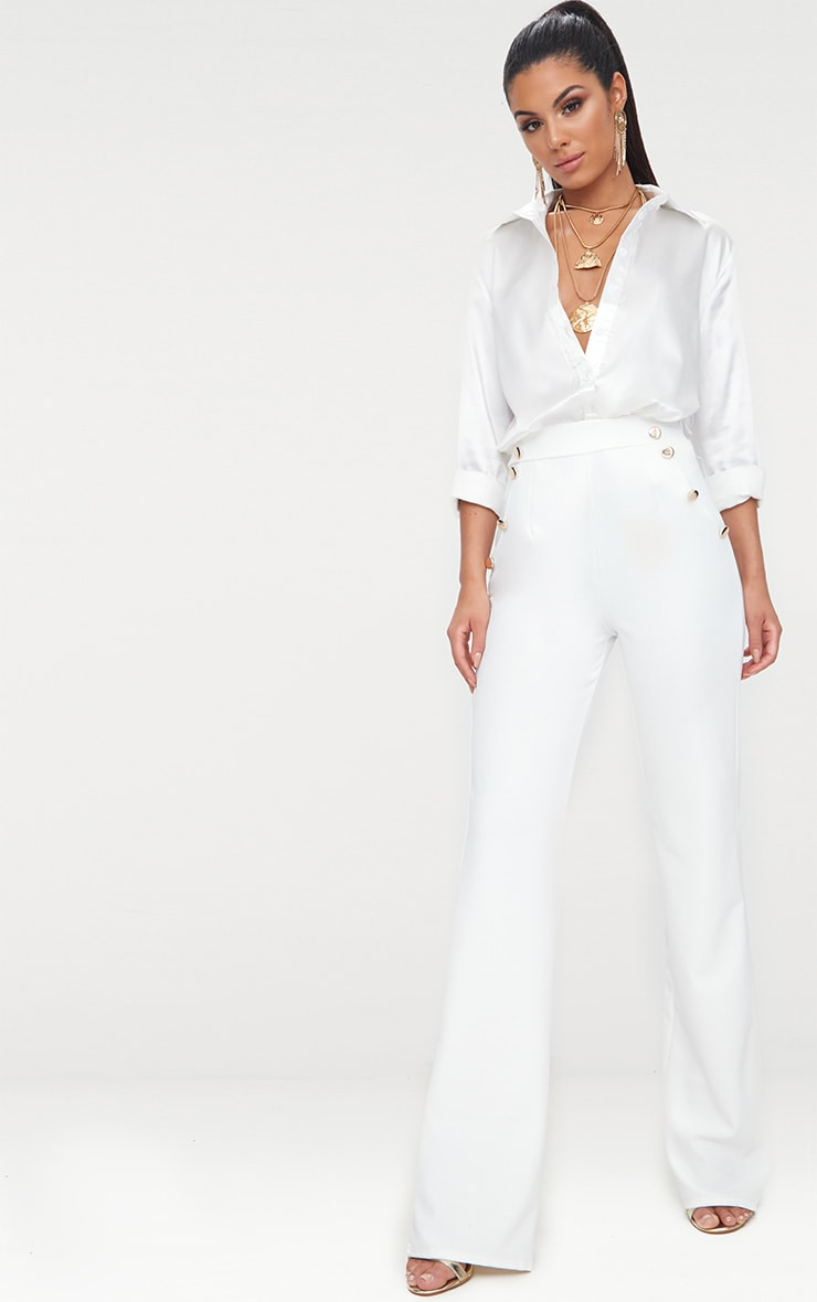 White Military High Waist Button Wide Leg Trousers