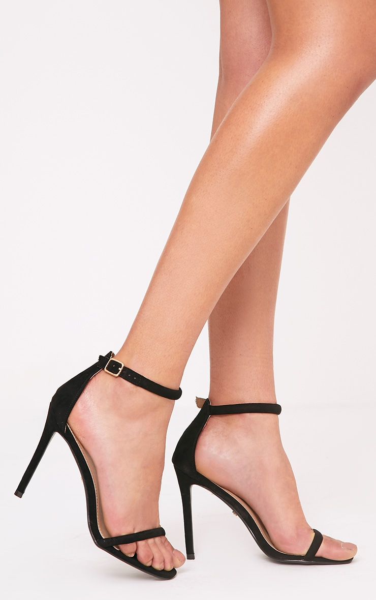 Ruby Black Square Toe Strappy Heels 3