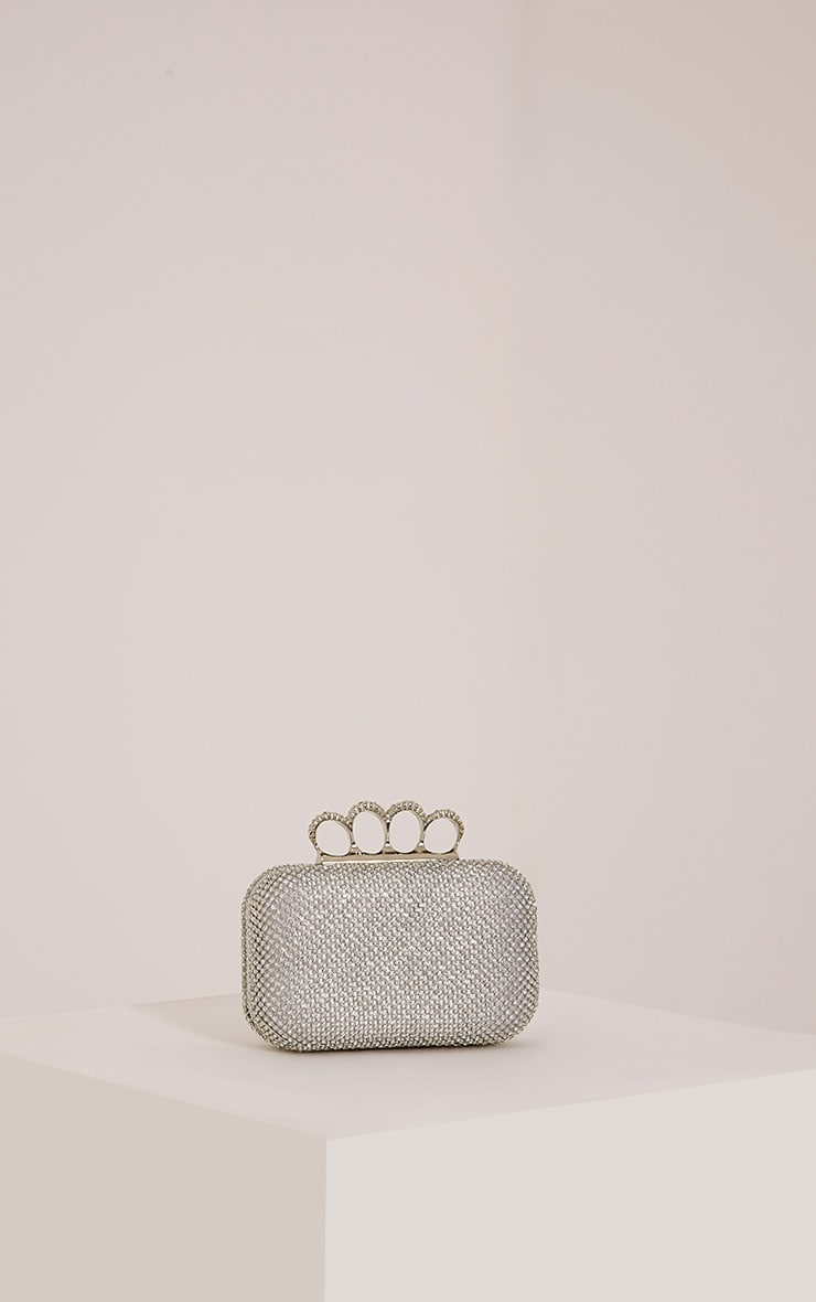 Noa Silver Crystal Knuckle Duster Clutch Bag 1