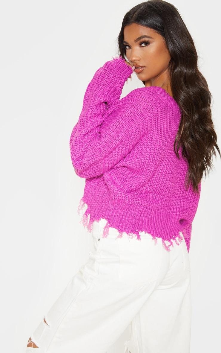 Violet Fringe Hem Knitted Jumper  2
