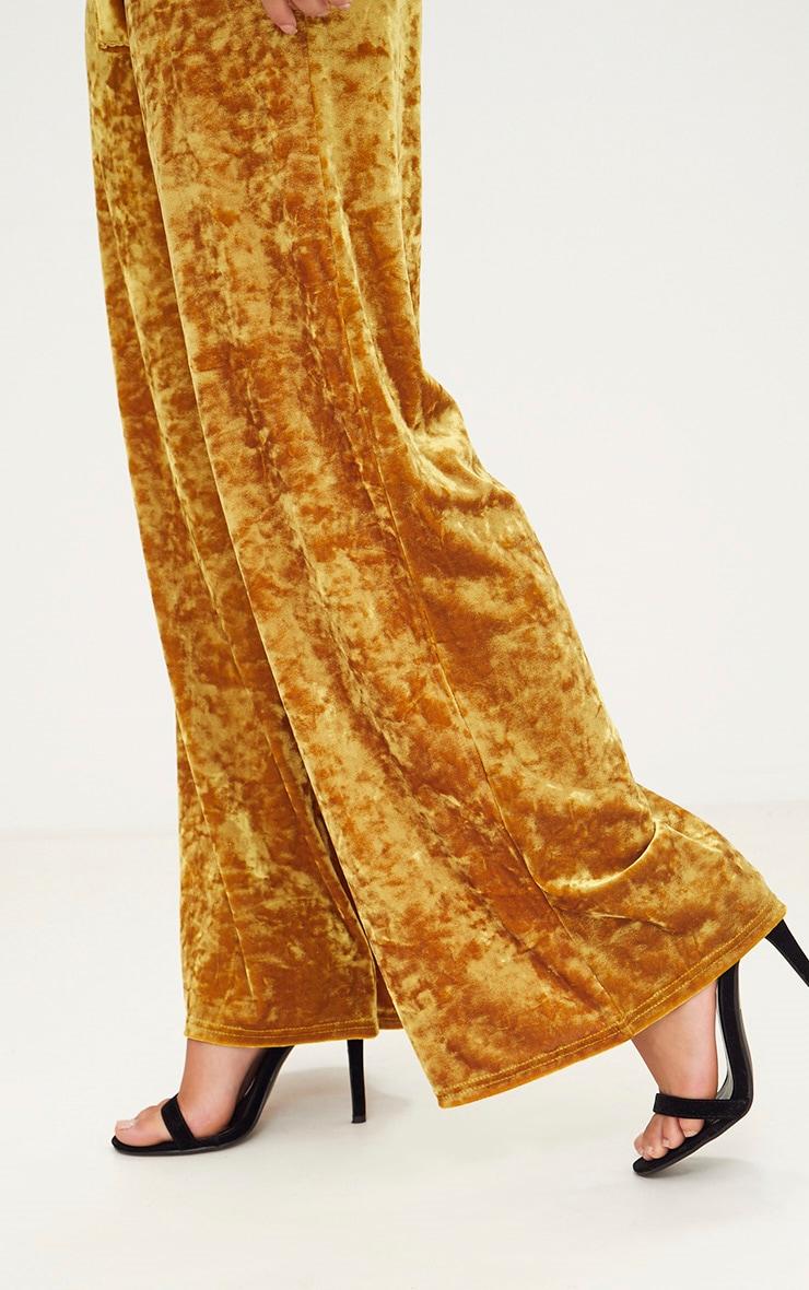Mustard Crushed Velvet Suit Trouser 4
