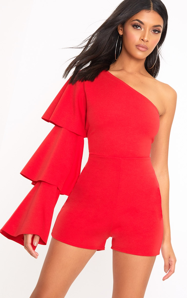 Red One Arm Frill Playsuit  1