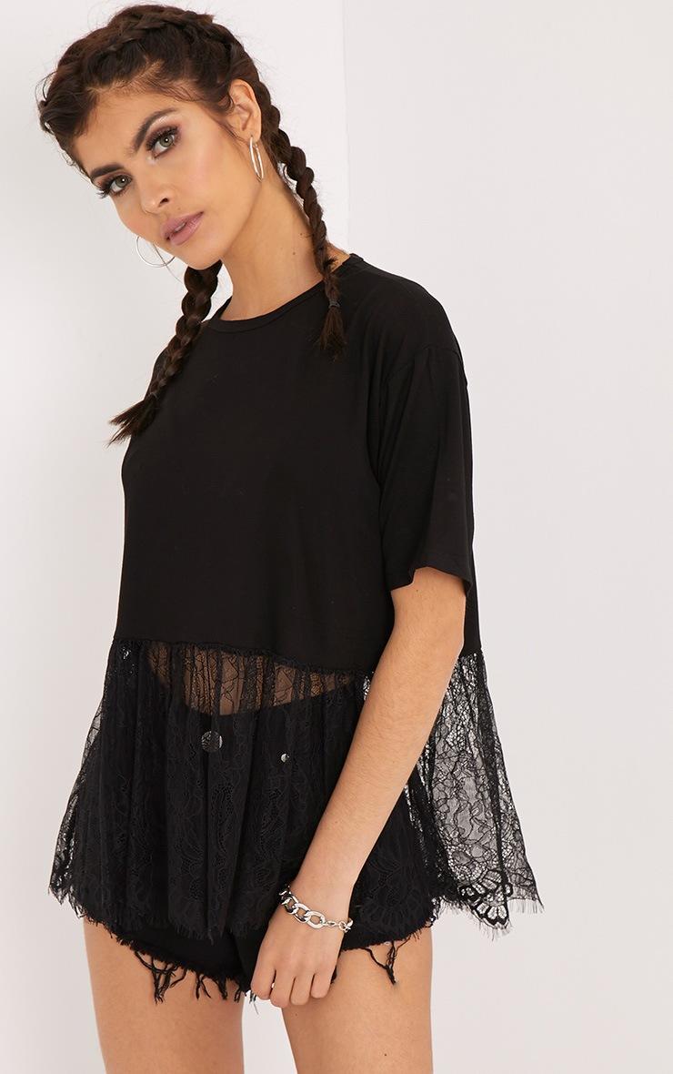 Bettina Black Lace Hem Oversized T Shirt 1