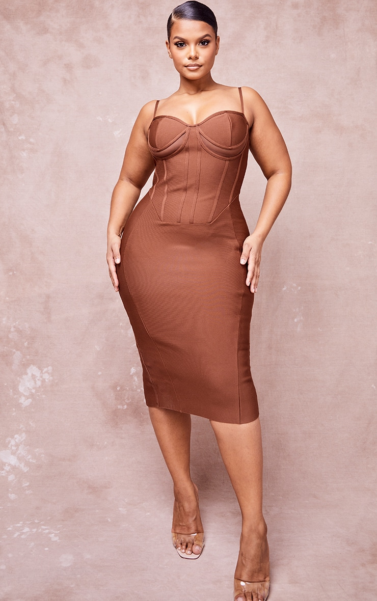 Plus Chocolate Brown Bandage Cut Out Underbust Strappy Midi Dress 1