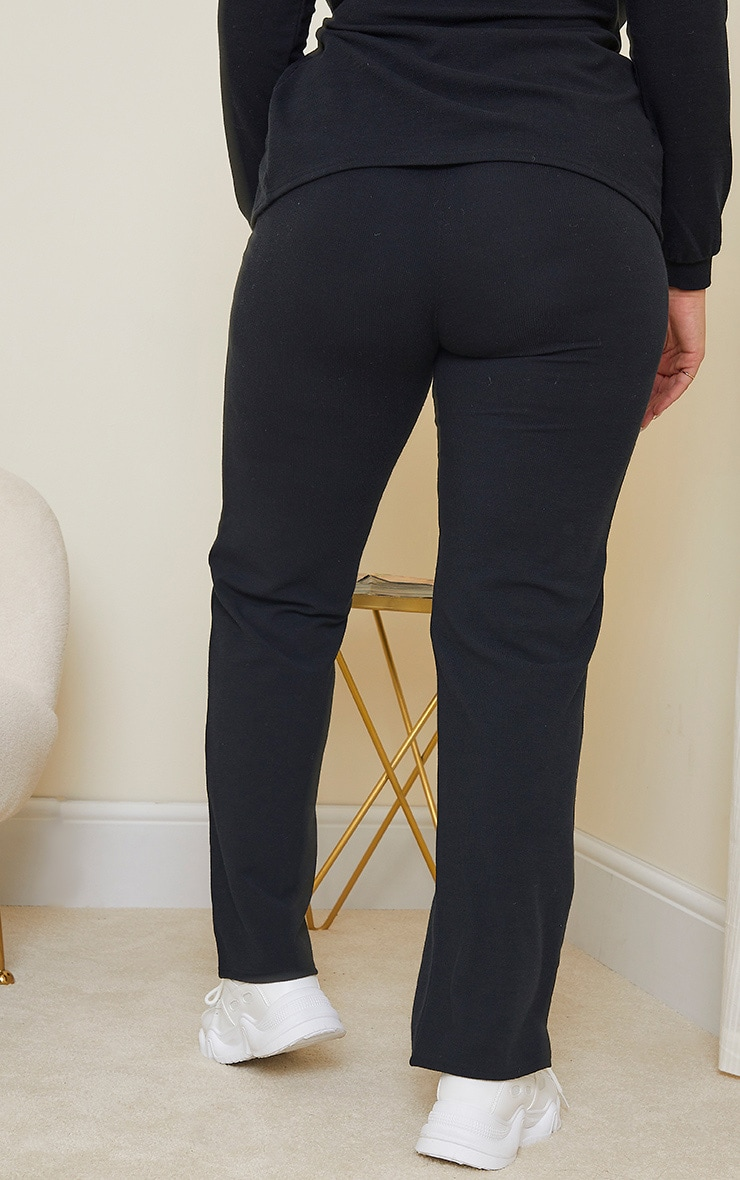 Plus Black Soft Rib Pocket Detail Wide Leg Pants 3