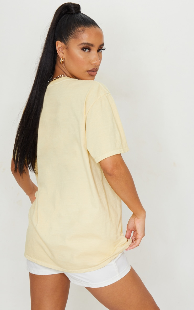 Pale Yellow Washed Oversized T Shirt 2