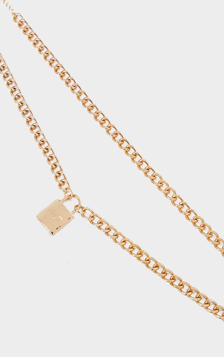 PRETTYLITTLETHING Gold Padlock Chunky Chain Layering Necklace 3