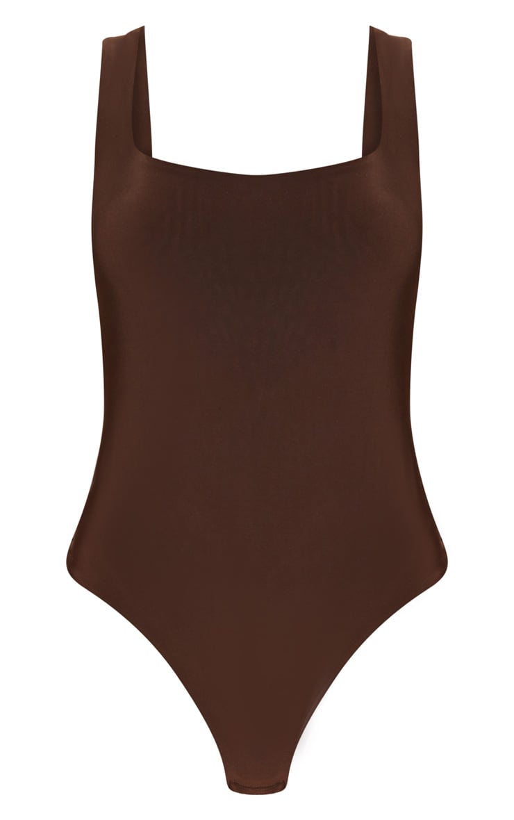 Chocolate Second Skin Scoop Neck Thong Bodysuit 4