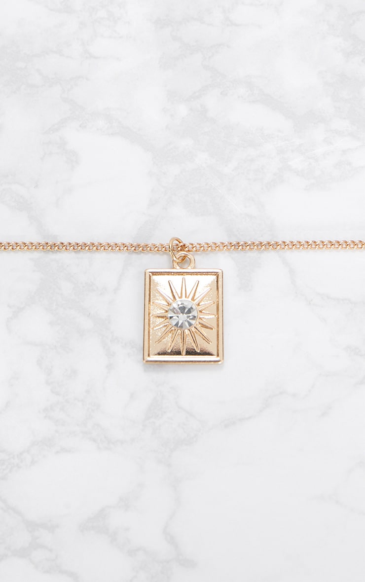 Gold Square Diamante Pendant Necklace 3