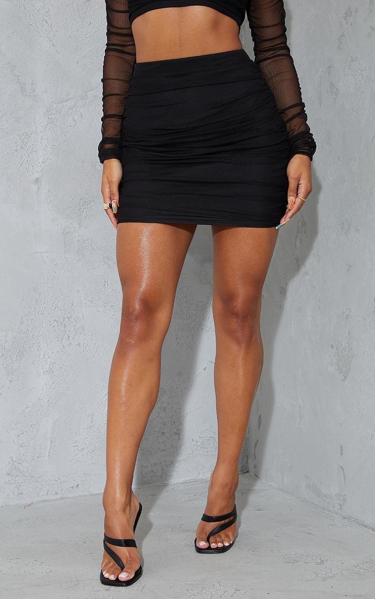 Black Mesh Ruched Side Skirt 2