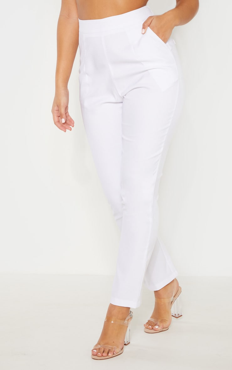 White High Waisted Tailored Cigarette Pants 2