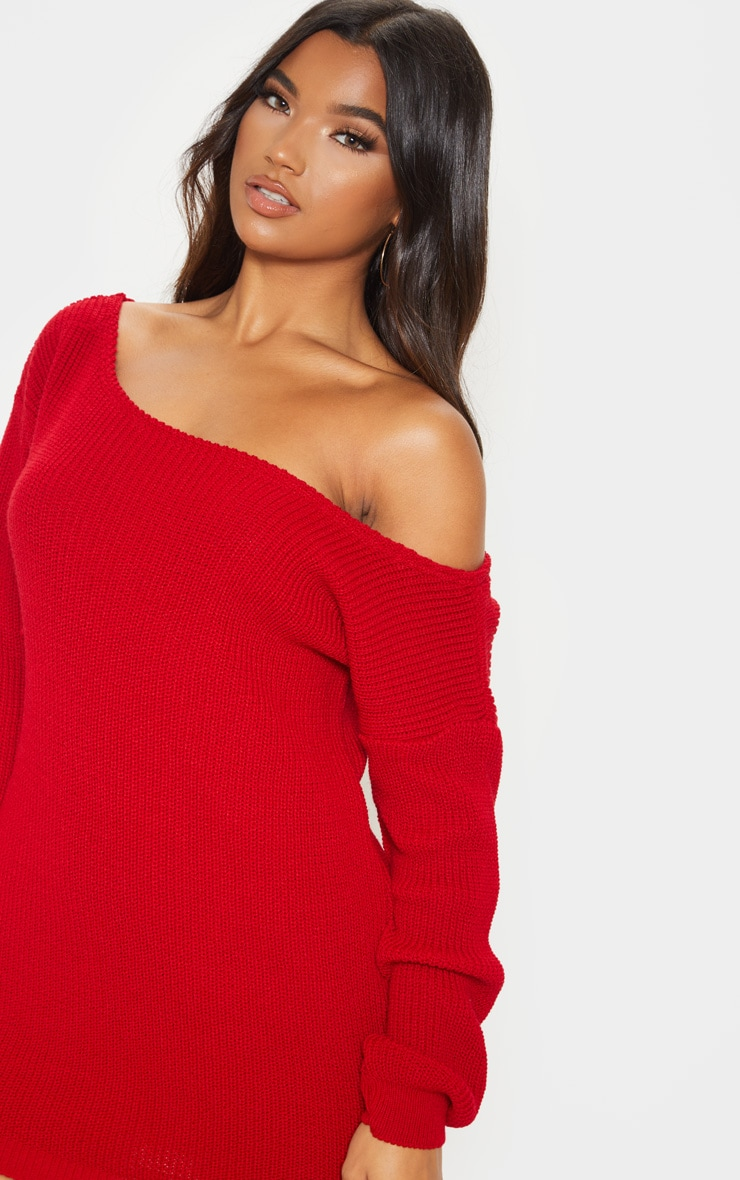 Red Off The Shoulder Knitted Dress 5