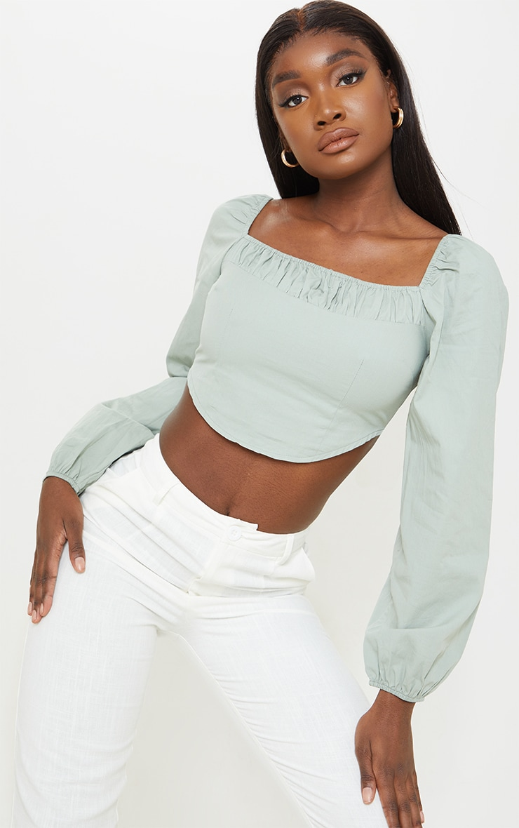 Tall Sage Green Corset Detail Long Sleeve Cropped Blouse 1