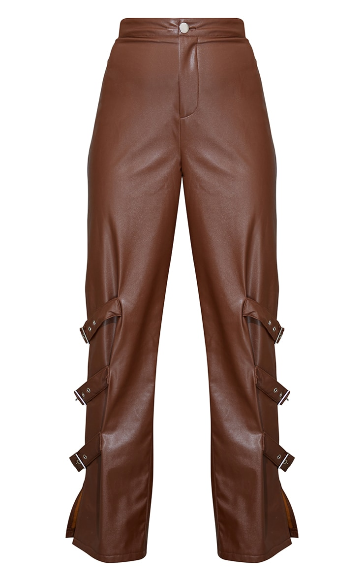 Chocolate Faux Leather Buckle Strap Detail Trousers 5