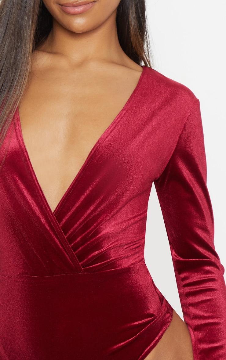 Burgundy Plunge Velvet Long Sleeve Bodysuit 6