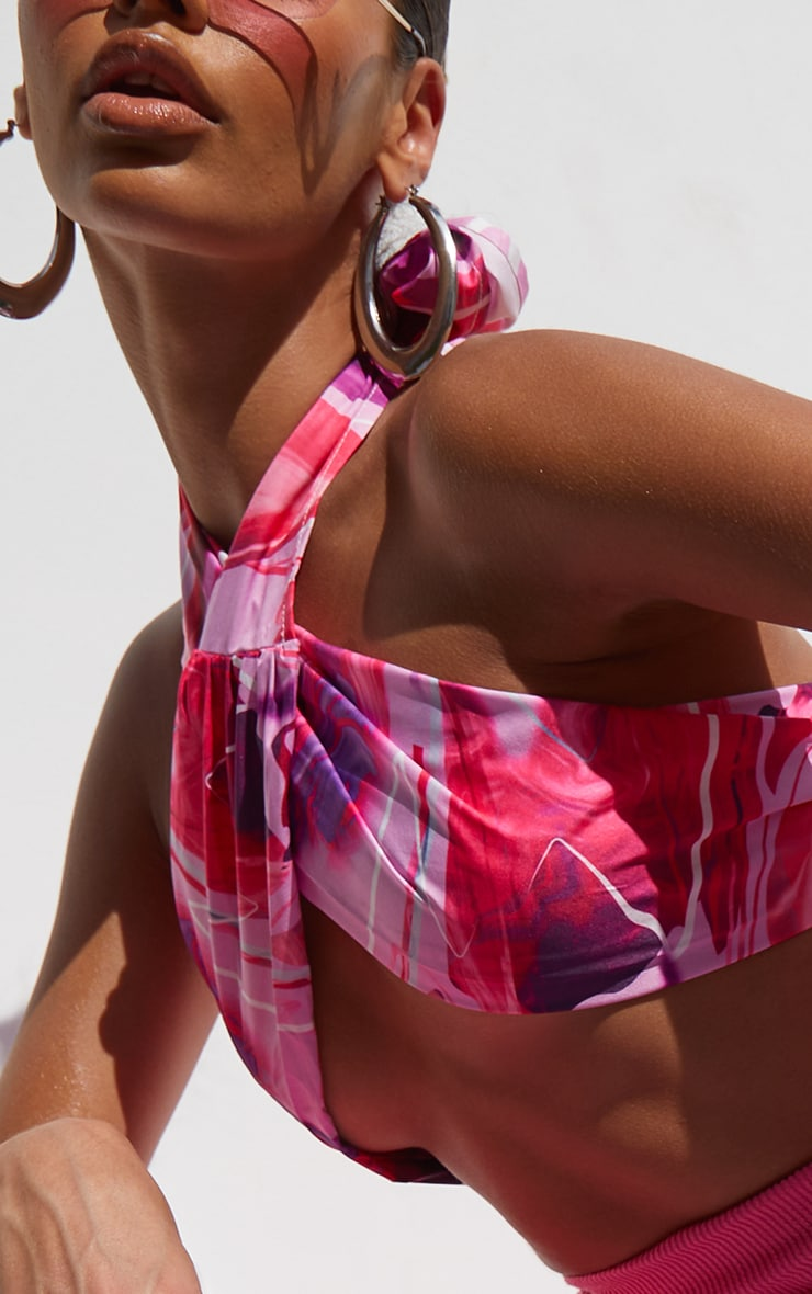 Pink Abstract Print Print Cross Front Bralet 4