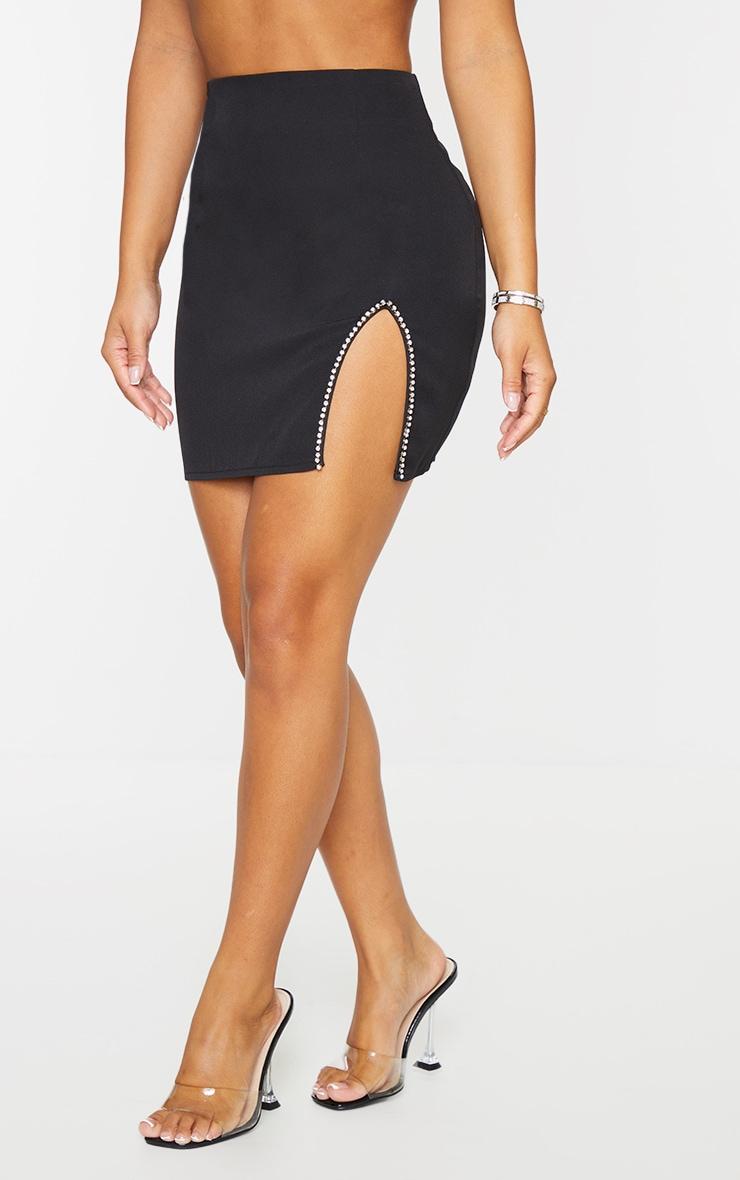 Petite Black Diamante Split Skirt 2