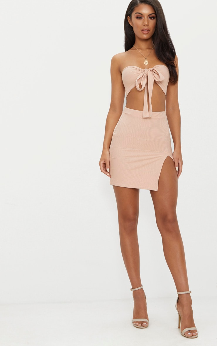 Nude Bandage Split Mini Skirt  3