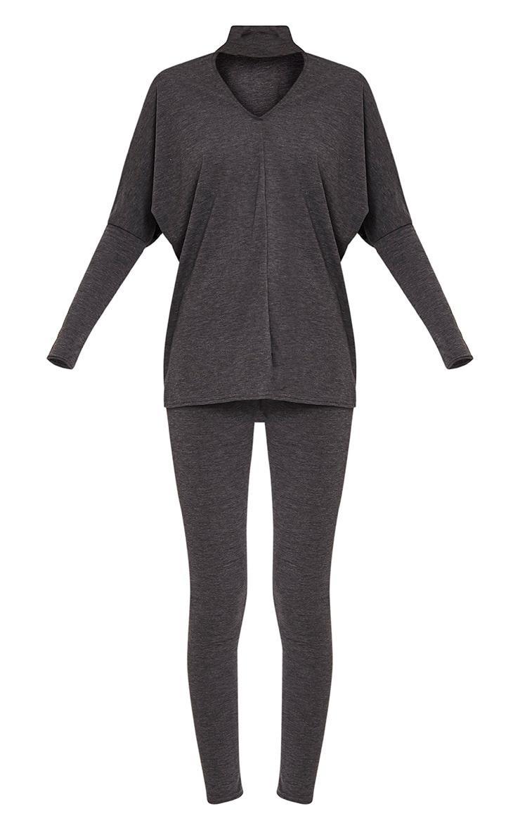 Kaia Charcoal Choker Detail Oversized Top & Leggings Set  3