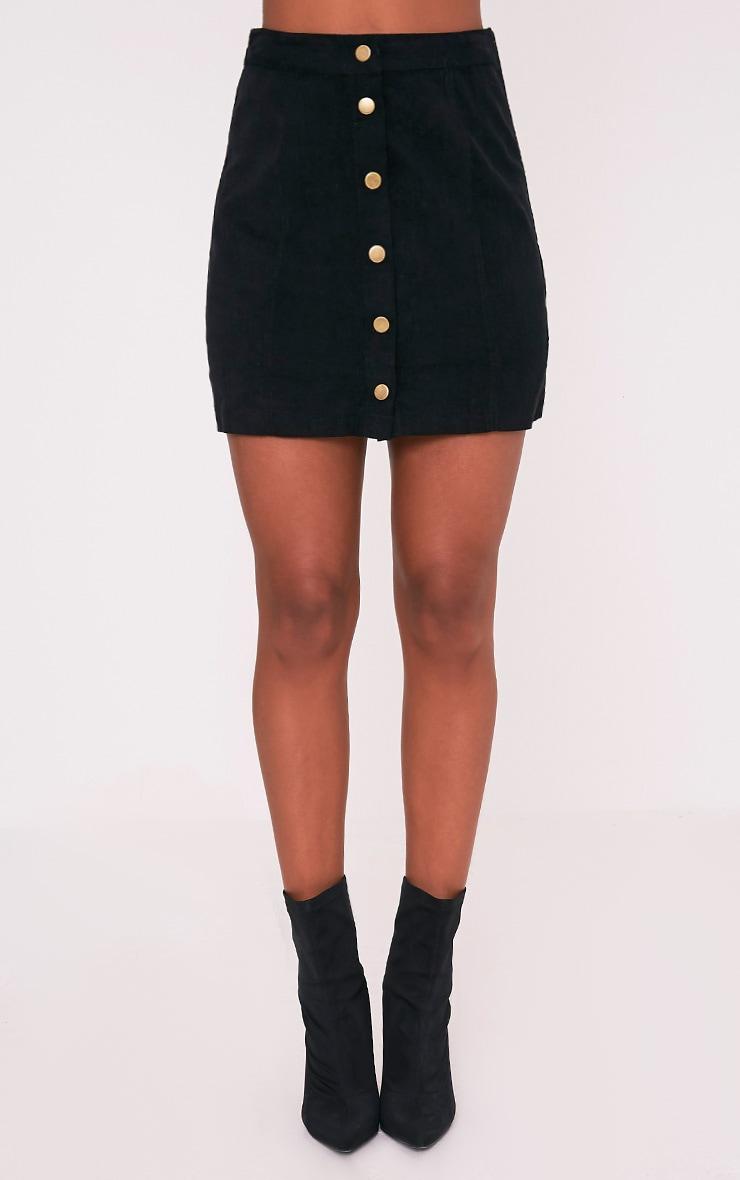 Cammie Black Cord Mini Skirt 2