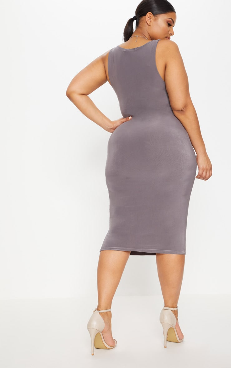 Plus Charcoal Grey Second Skin Slinky Scoop Neck Midi Dress 3