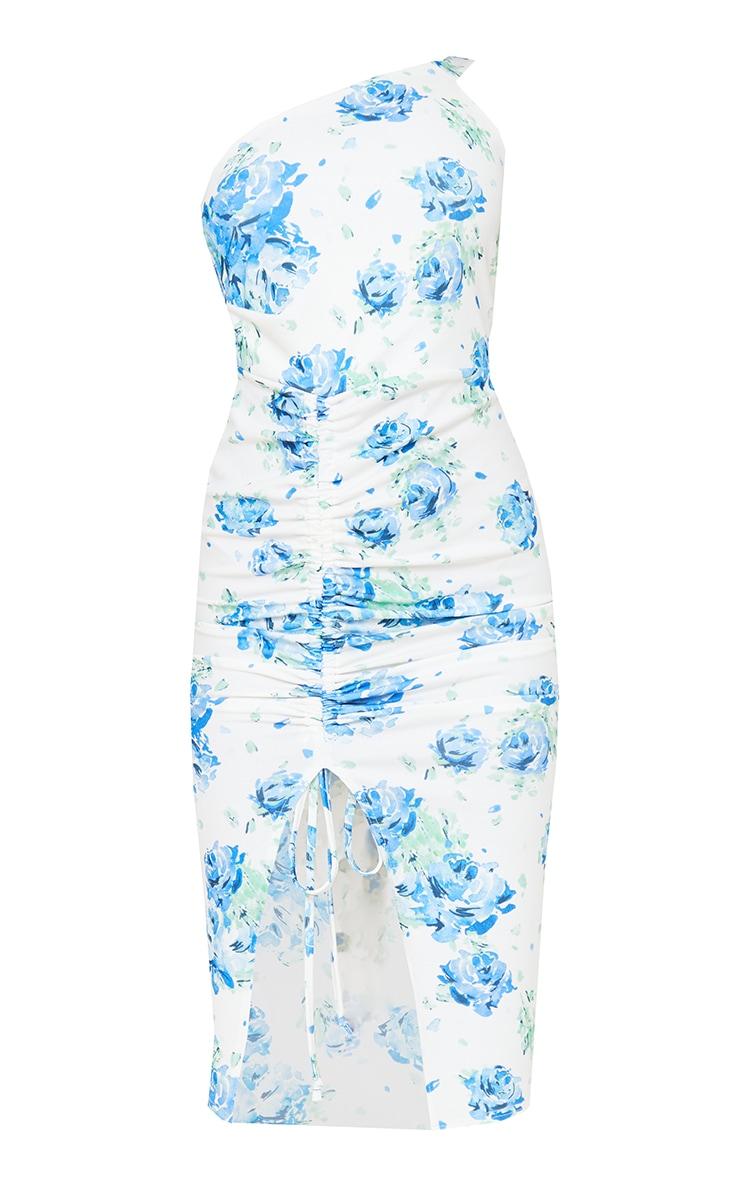 Blue Floral Print Ruched One Shoulder Midi Dress 5
