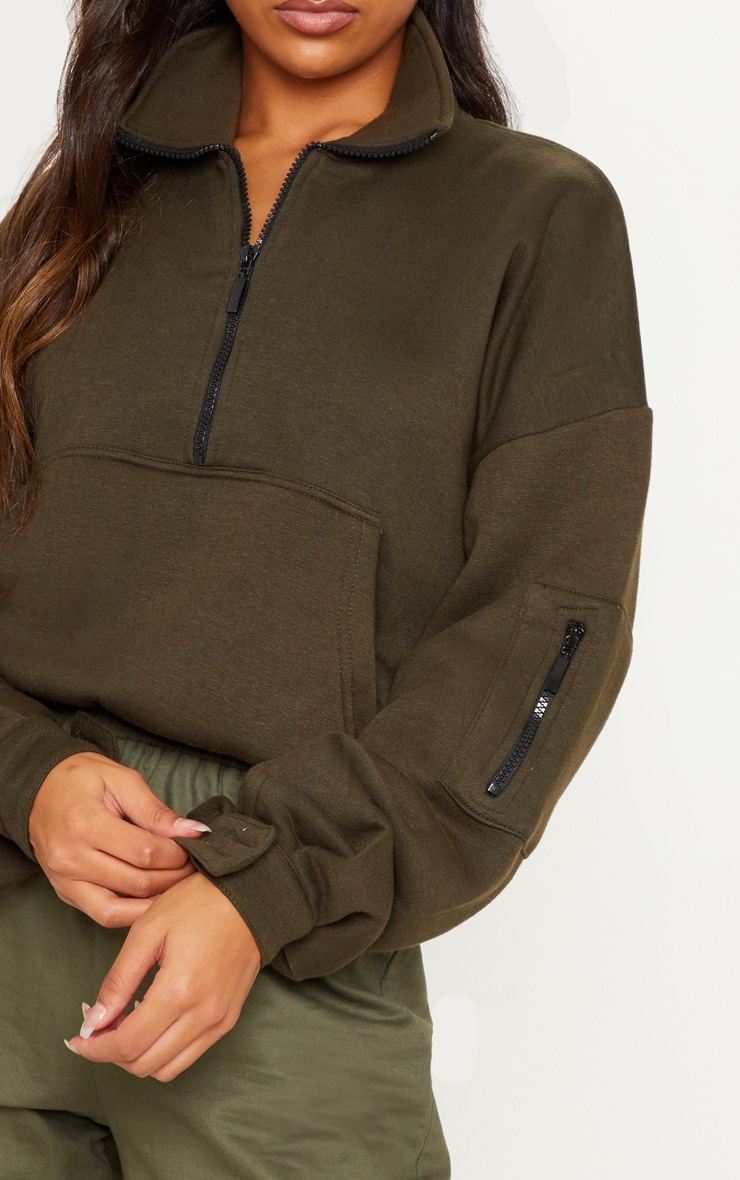 Khaki Oversized Zip Front Sweater  4