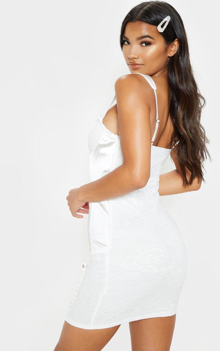 White Satin Lace Insert Suspender Detail Bodycon Dress 2