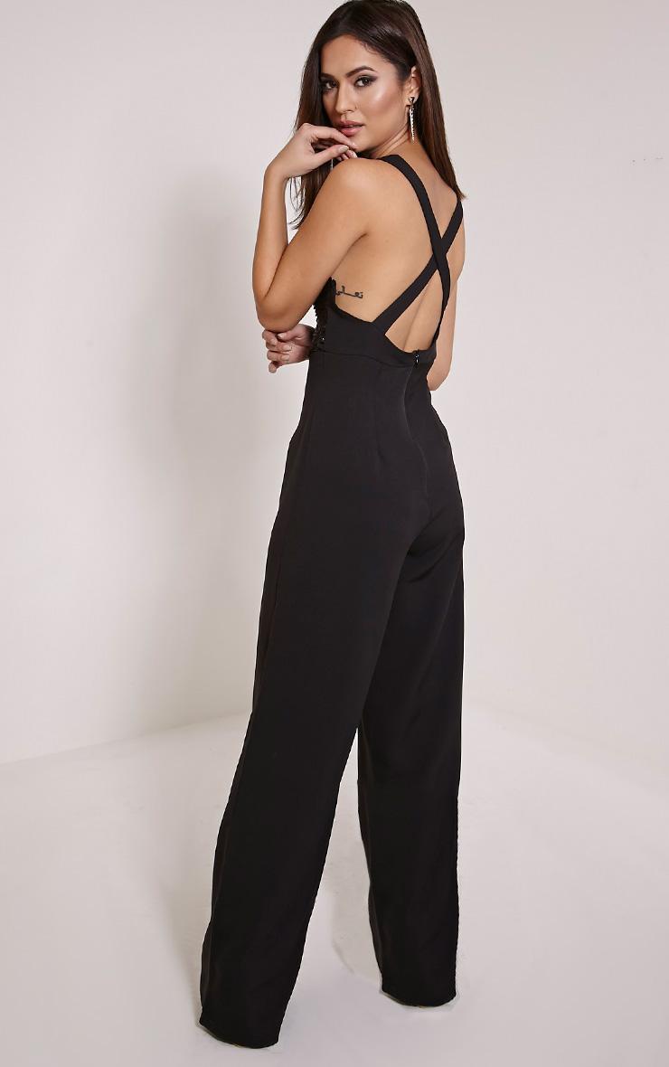 Darcey Black Sequin Plunge Cross Back Jumpsuit 3