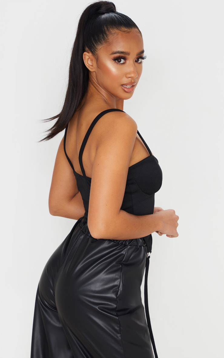 Petite Black Sweat Corset Top 3