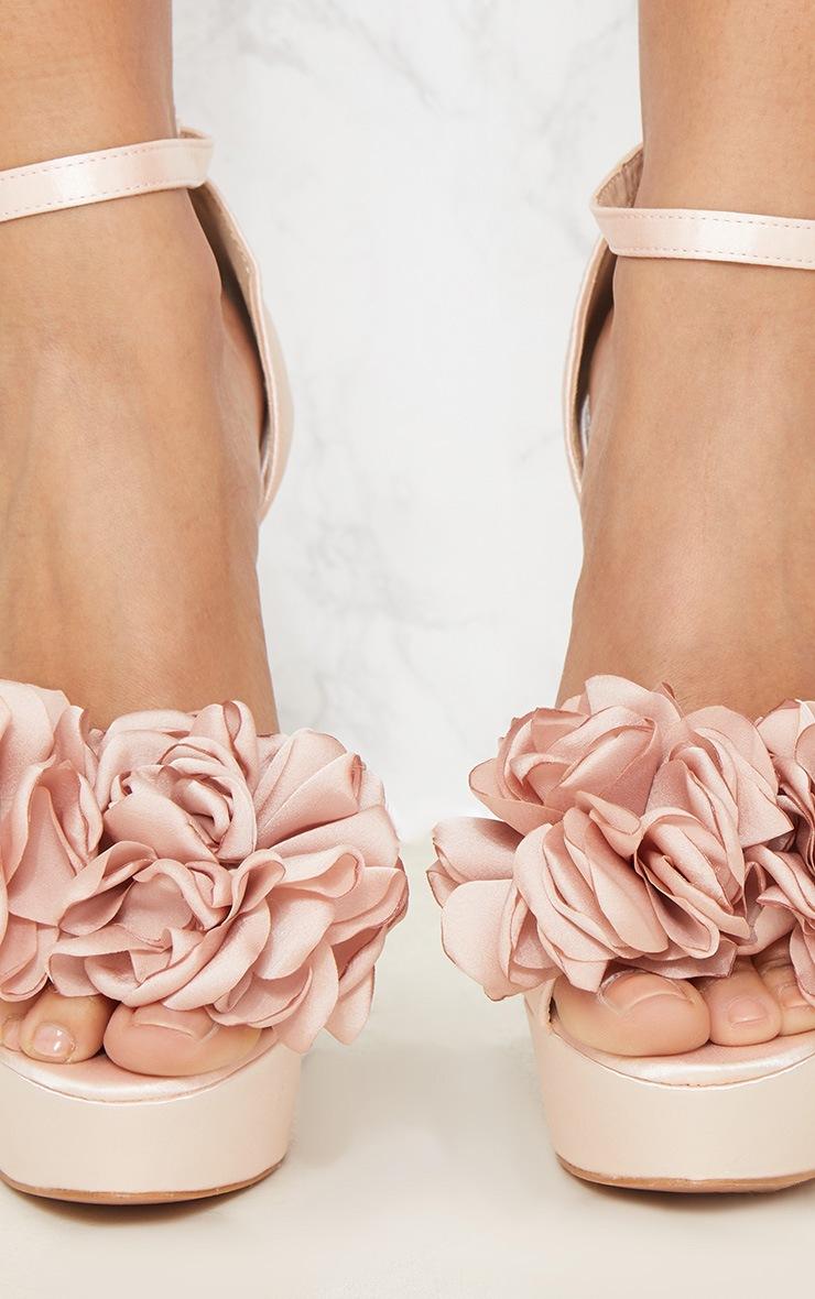 Champagne Ruffle Flower Platform Heel 5