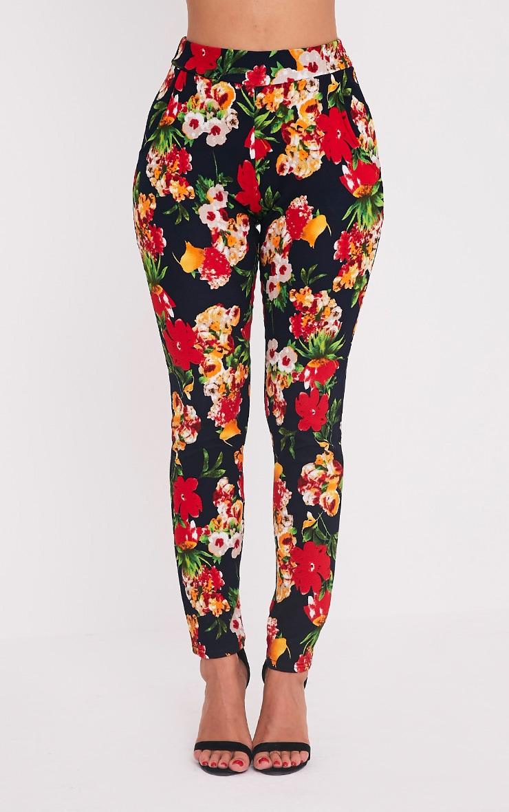 Karolina Red Floral Crepe Cigarette Trousers 2