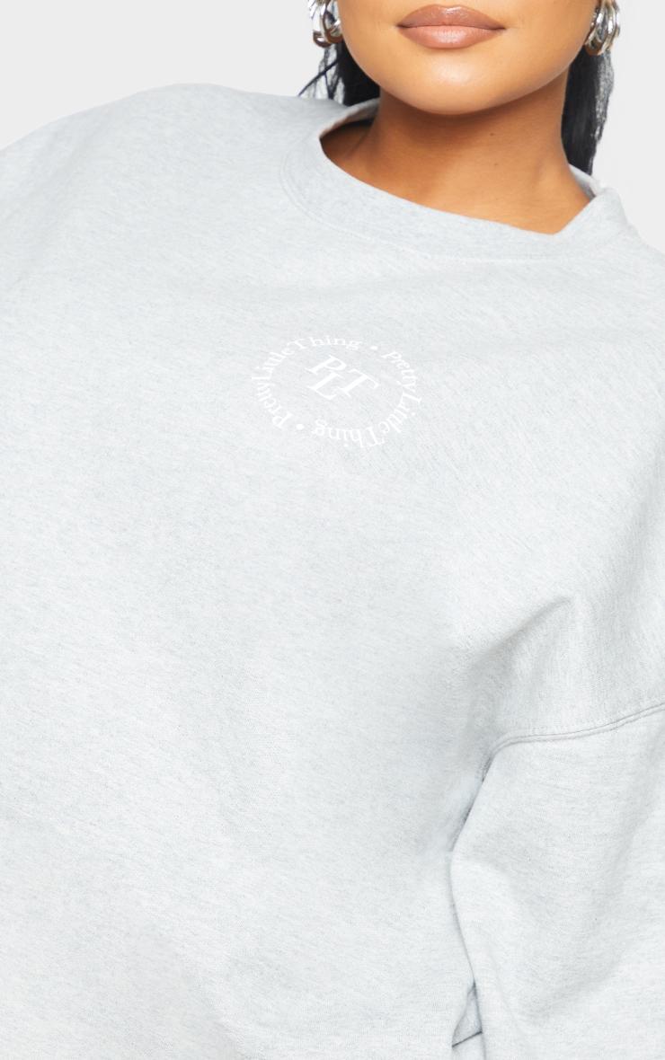 PRETTYLITTLETHING Plus Grey Branded Sweatshirt 4