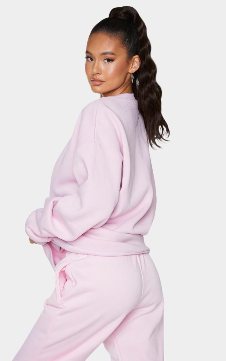 PRETTYLITTLETHING Baby Pink Circle Logo Sweatshirt 2