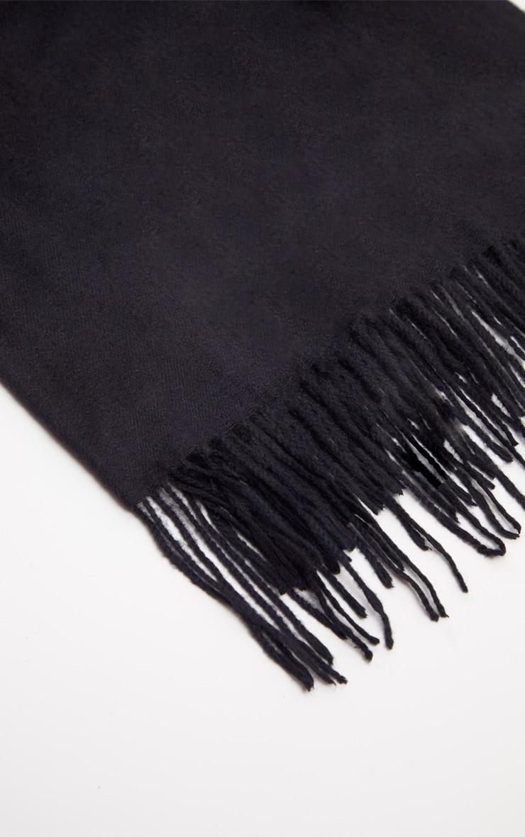 Black Basic Plain Scarf 3