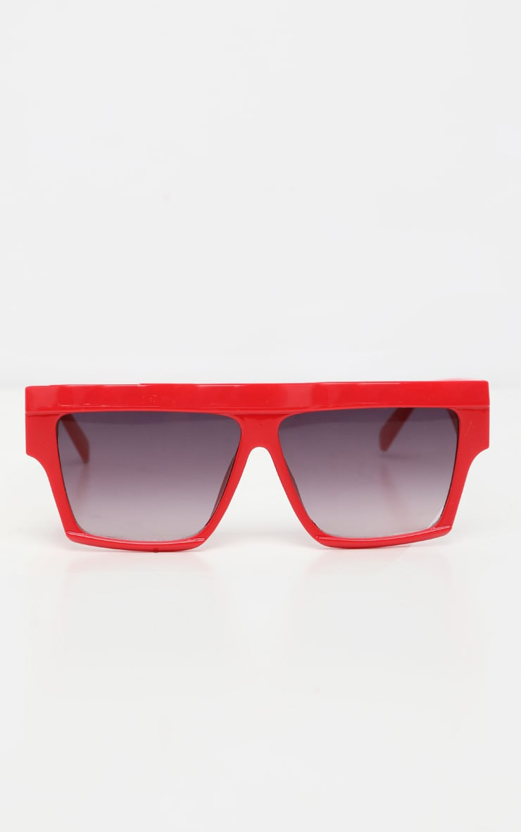 Red Thick Frame Faded Lenses Sunglasses 2