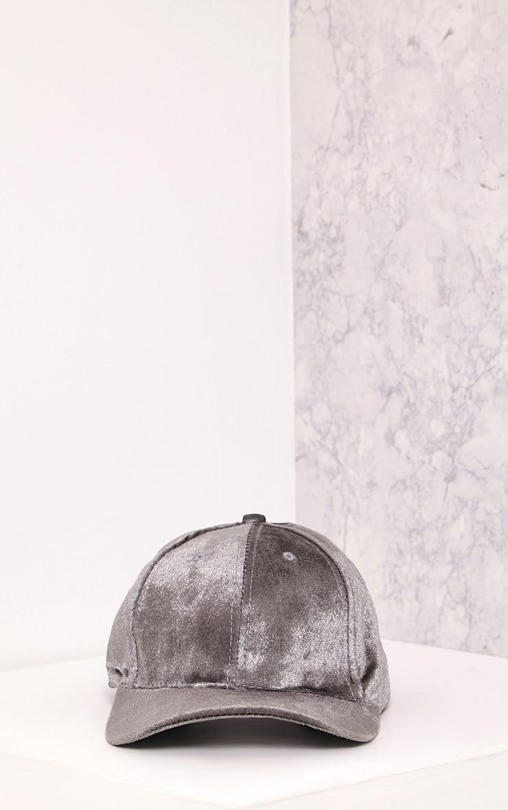 Venessa Light Grey Velvet Baseball Cap 5