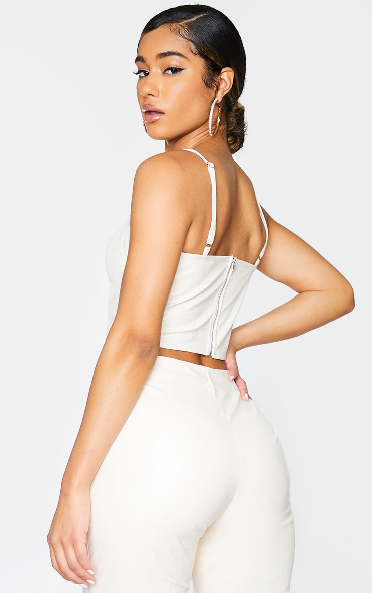 Cream Croc Print Faux Leather Cup Detail Strappy Corset Top 2